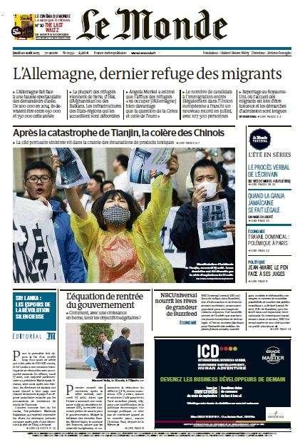 Le Monde du Jeudi 20 Aout 2015