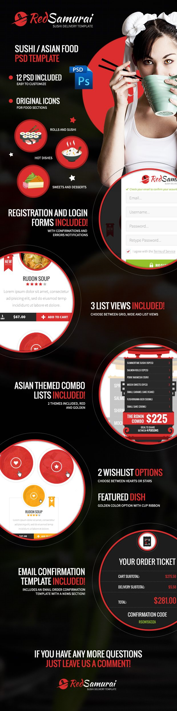 Red Samurai PSD Template