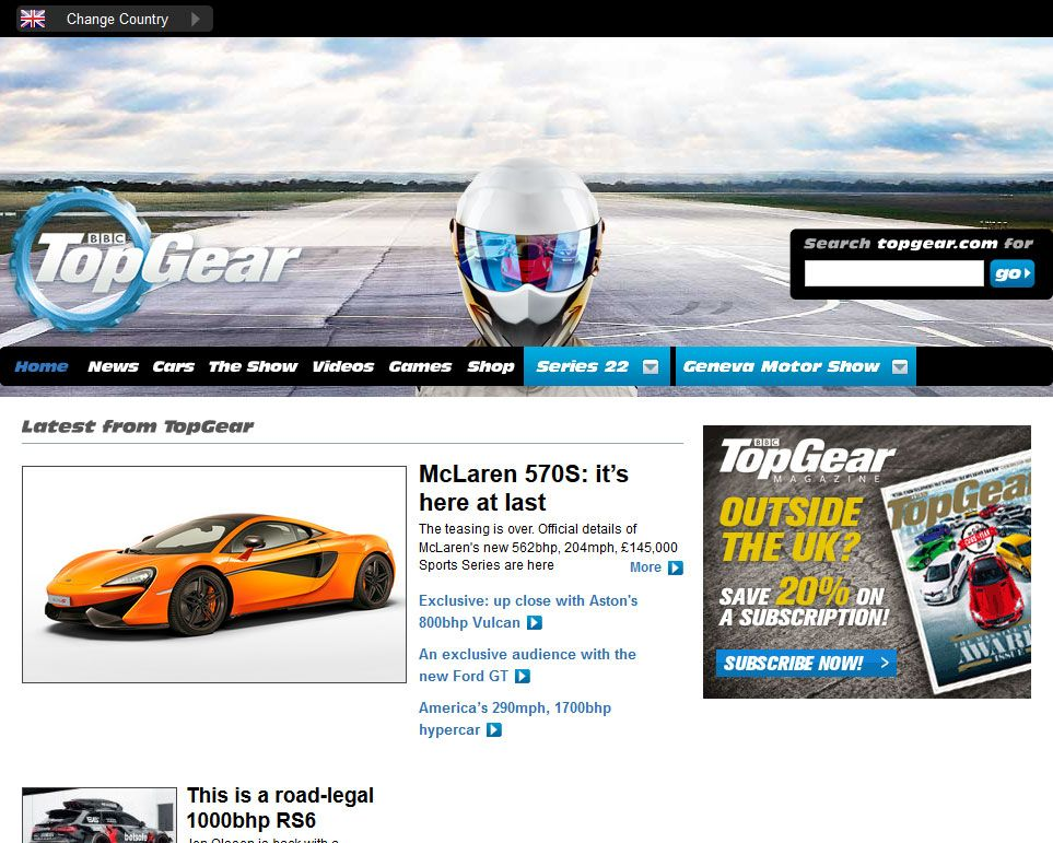 TopGear.com April 1, 2015 Home Page