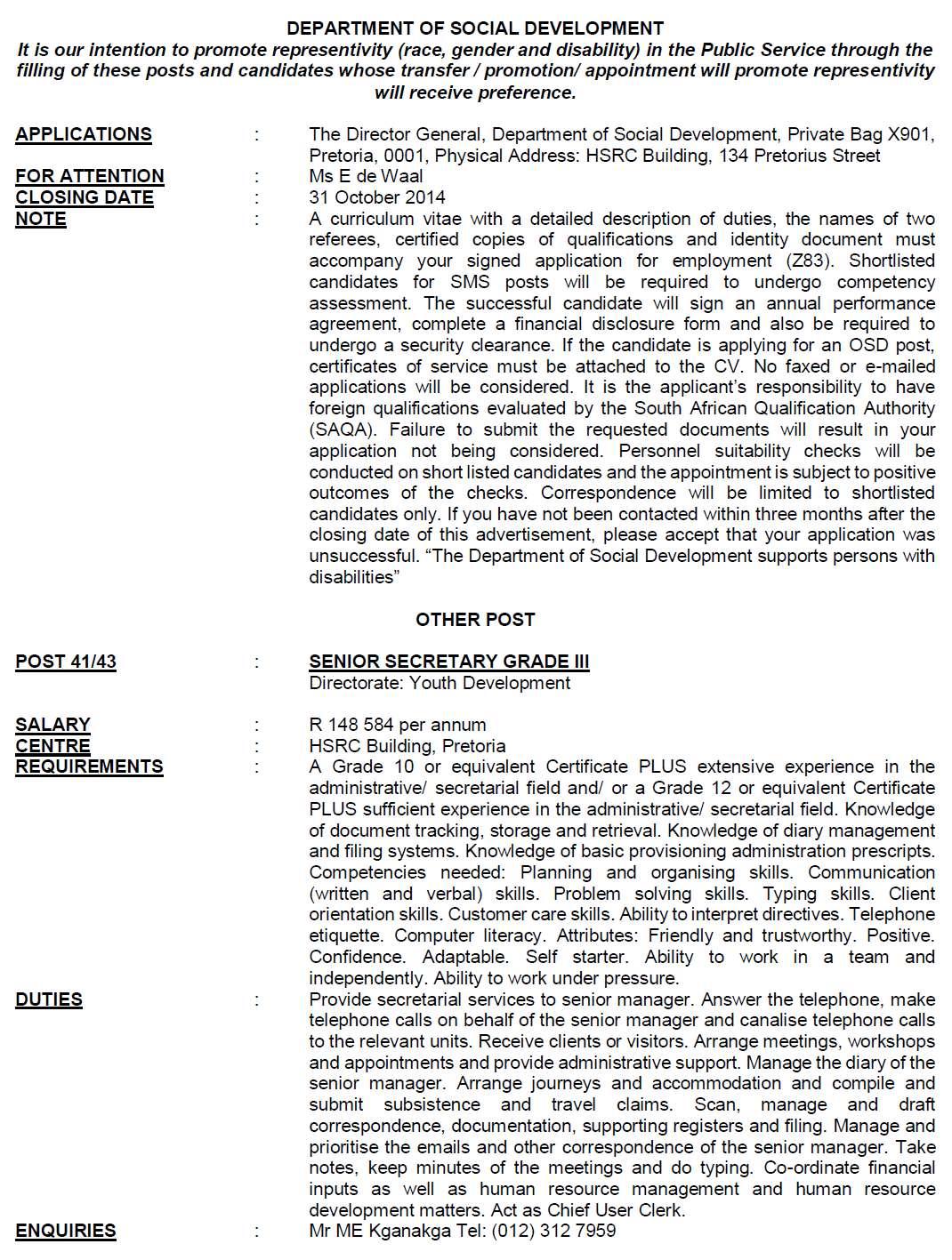 DPSA Vacancies: Social Development Circular 41 | DPSA Vacancies .