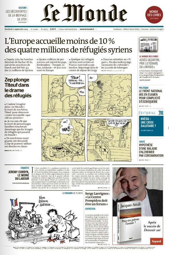 Le Monde et Suppléments du Vendredi 11 Septembre 2015