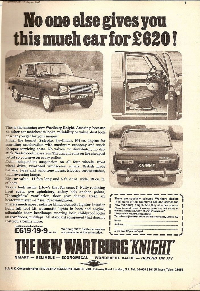 The new Wartburg Knight. No one else gives you this much car for £620!