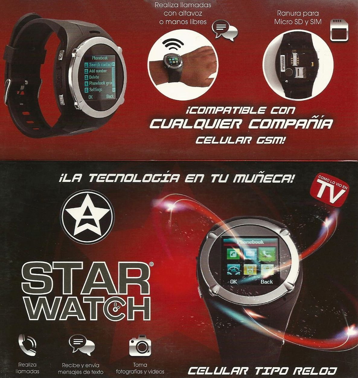 starwatch star watch reloj celular