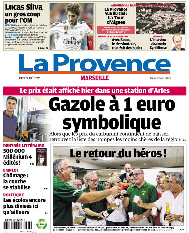 La Provence Marseille du Jeudi 27 aout 2015