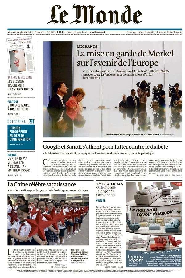 Le Monde et 2 Suppléments du Mercredi 2 Septembre 2015