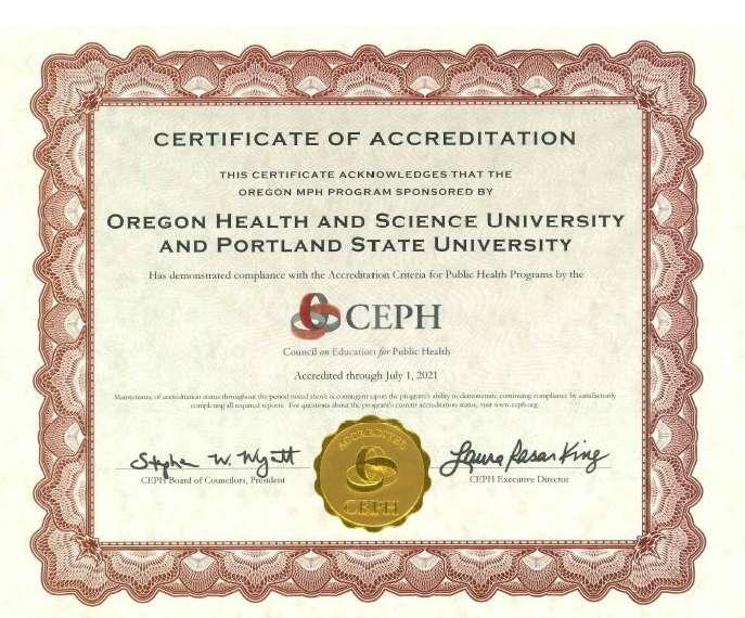 CEPH Certificate of Accreditation
