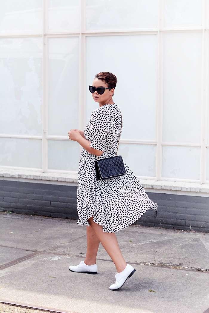 h&m trend dotted summer dress, vintage chanel bag, charlie may hudson shoes - justlikesushi.com