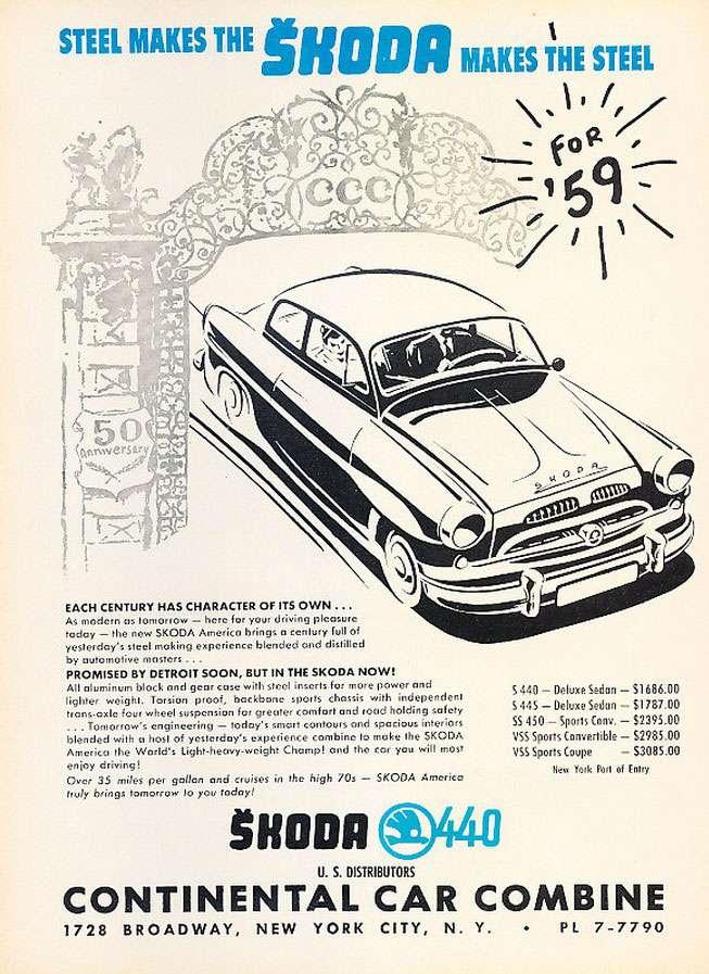 Steel makes the Skoda. Skoda makes the steel. The 1959 Skoda 440.