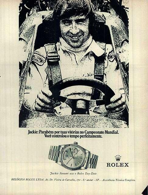 Jackie: parabéns por tuas vitórias no Campeonato Mundial. Você controlou o tempo perfeitamente. Rolex. Jackie Stewart usa o Rolex Day-Date. Relógios Rolex Ltda. Av. Dr. Vieira de Carvalho, 172 - 8º andar - SP - Assistência Técnica Completa