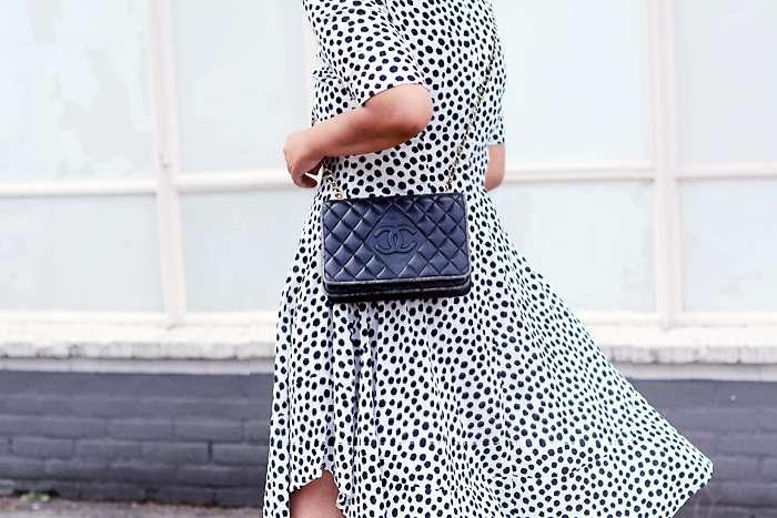 h&m trend dotted summer dress, vintage chanel bag - justlikesushi.com