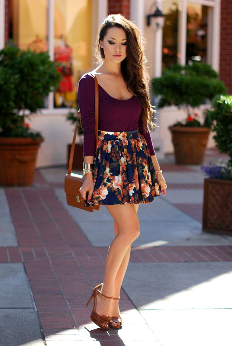 floral circle skirt outfit