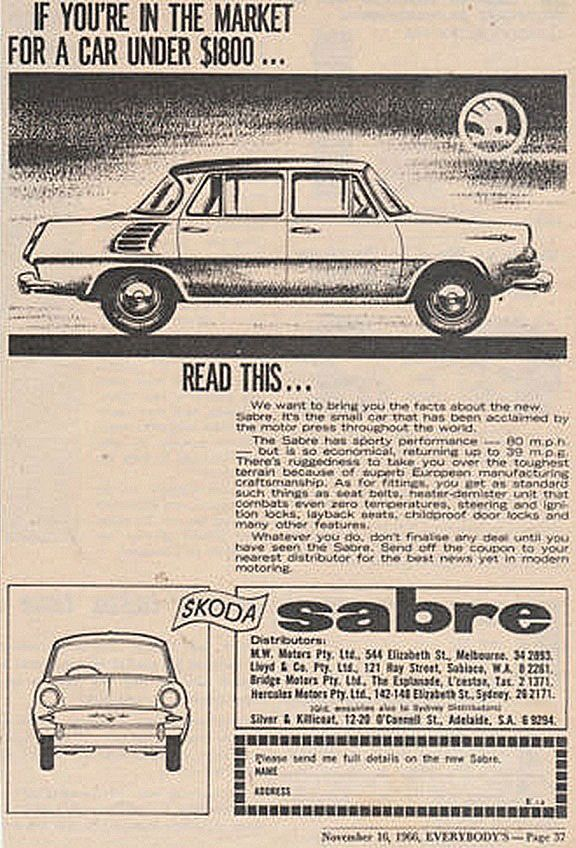 If you're in the market for a car under $1800... look at this... the Skoda Sabre.