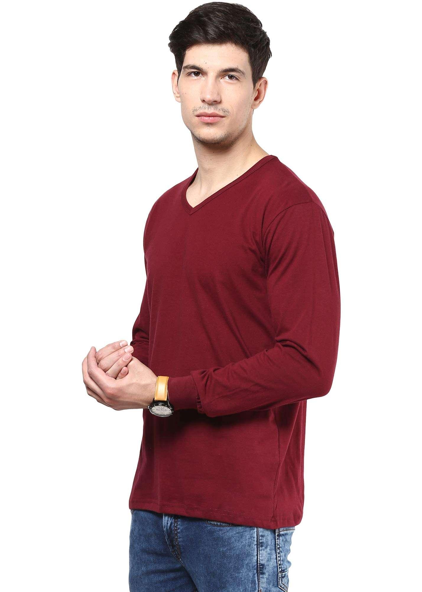 Izinc maroon coloured full sleeve cotton t shirt for men for Maroon t shirt for men