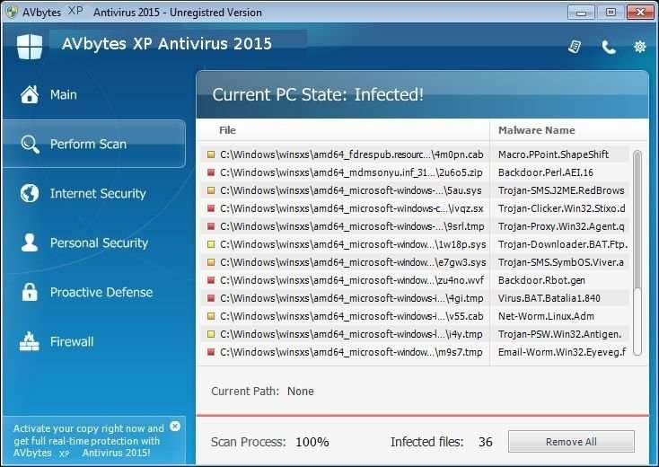 Verwijder AVbytes XP Antivirus 2015
