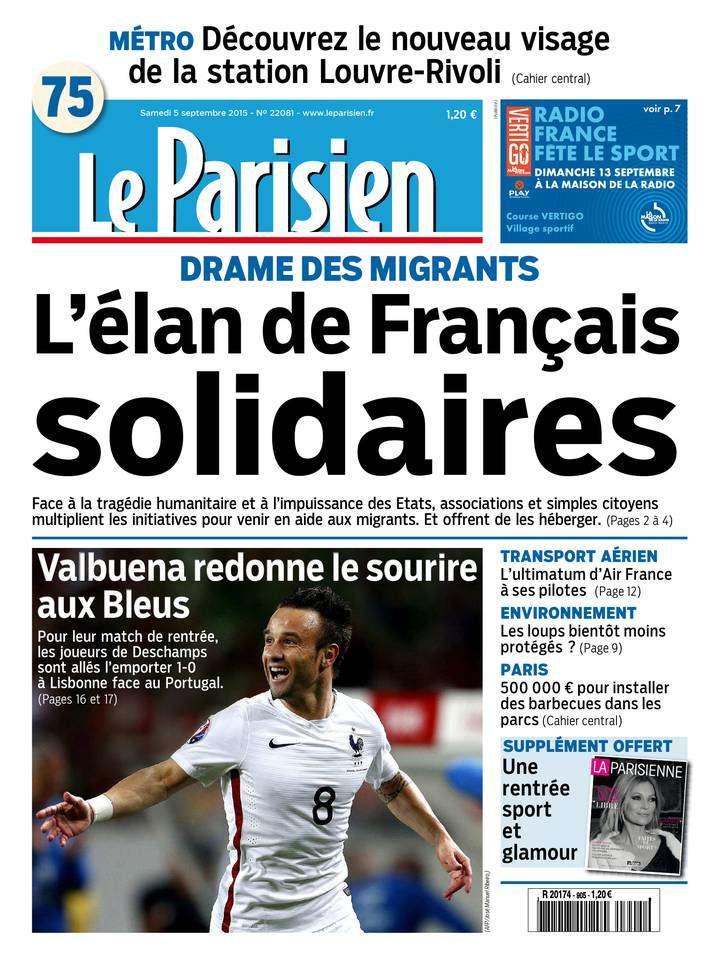 Le Parisien + Journal de Paris du Samedi 5 Septembre 2015