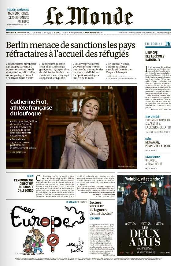 Le Monde du Mercredi 16 Septembre 2015