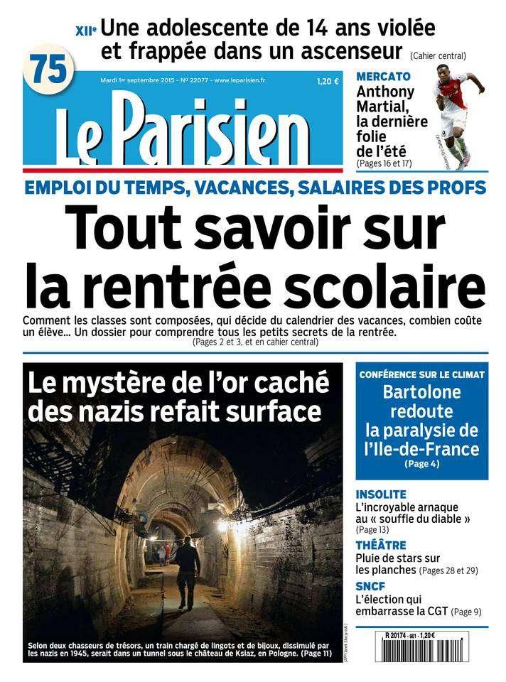 Le Parisien + Journal de Paris du Mardi 1er Septembre 2015
