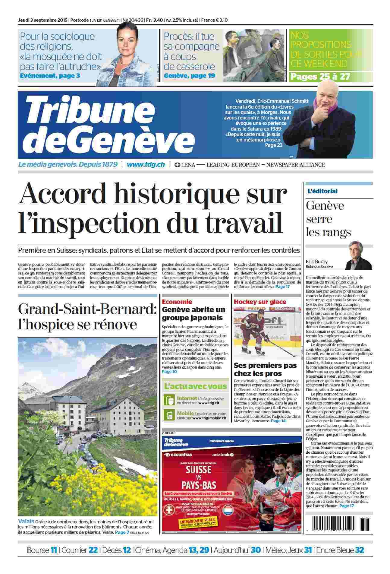 Tribune de Genève (03 - 09 - 2015)