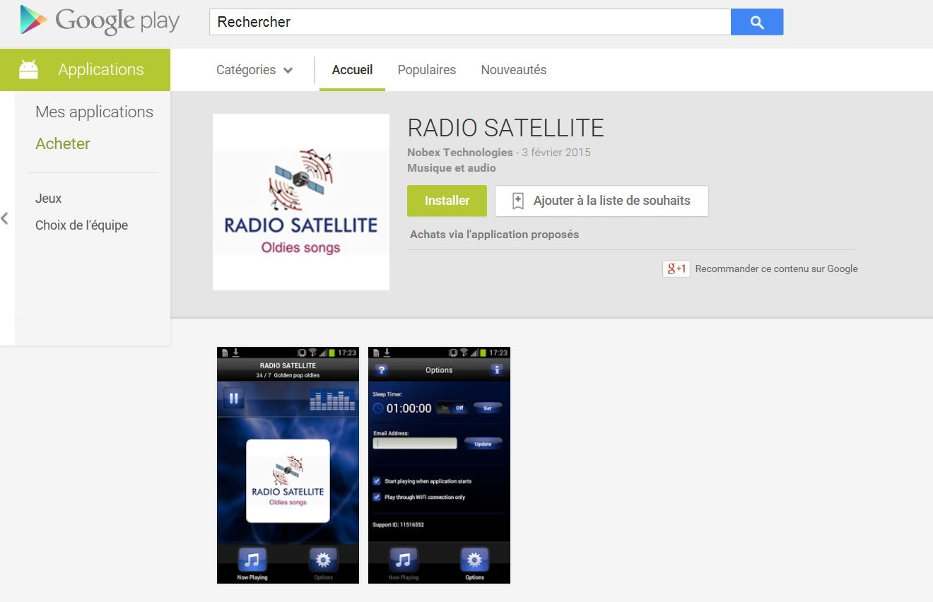 APPLI  RADIO SATELLITE ON GOOGLE STORE