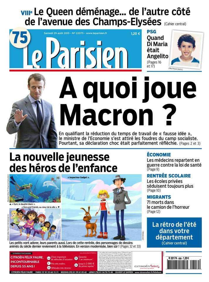 Le Parisien + Journal de Paris du Samedi 29 Août 2015