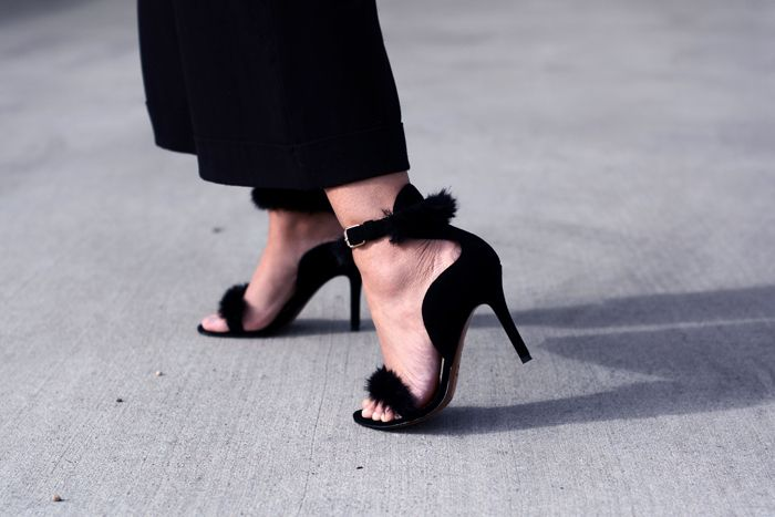 culottes, furry heels, breton stripe, costes bomber jacket - justlikesushi.com