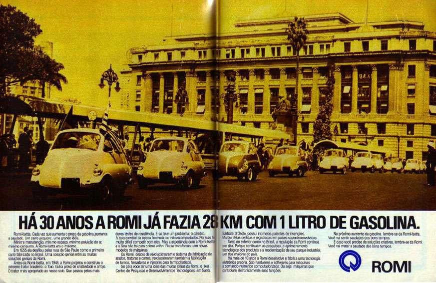 Há 30 anos a Romi já fazia 28 quilômetros com 1 litro de gasolina.