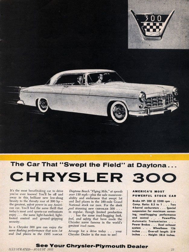 "The Car That ""Swept The Field"" at Daytona... Chrysler 300."