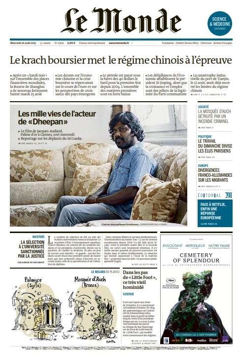 Le Monde et Supplément du Mercredi 26 Août 2015
