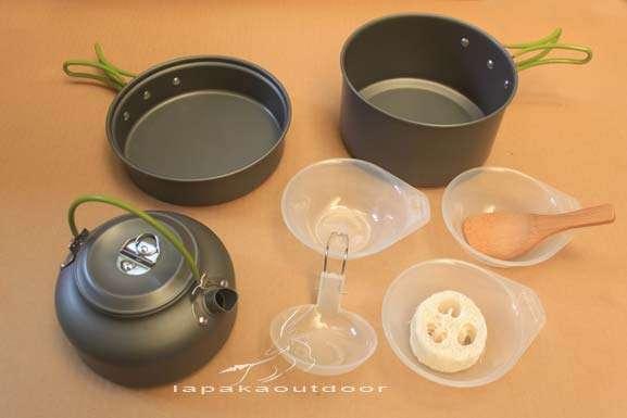 cooking set 3set w/teko (gagang hijau)