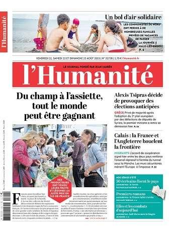 L'Humanite Du Vendredi 21 Samedi 22 Dimanche 23 Août 2015