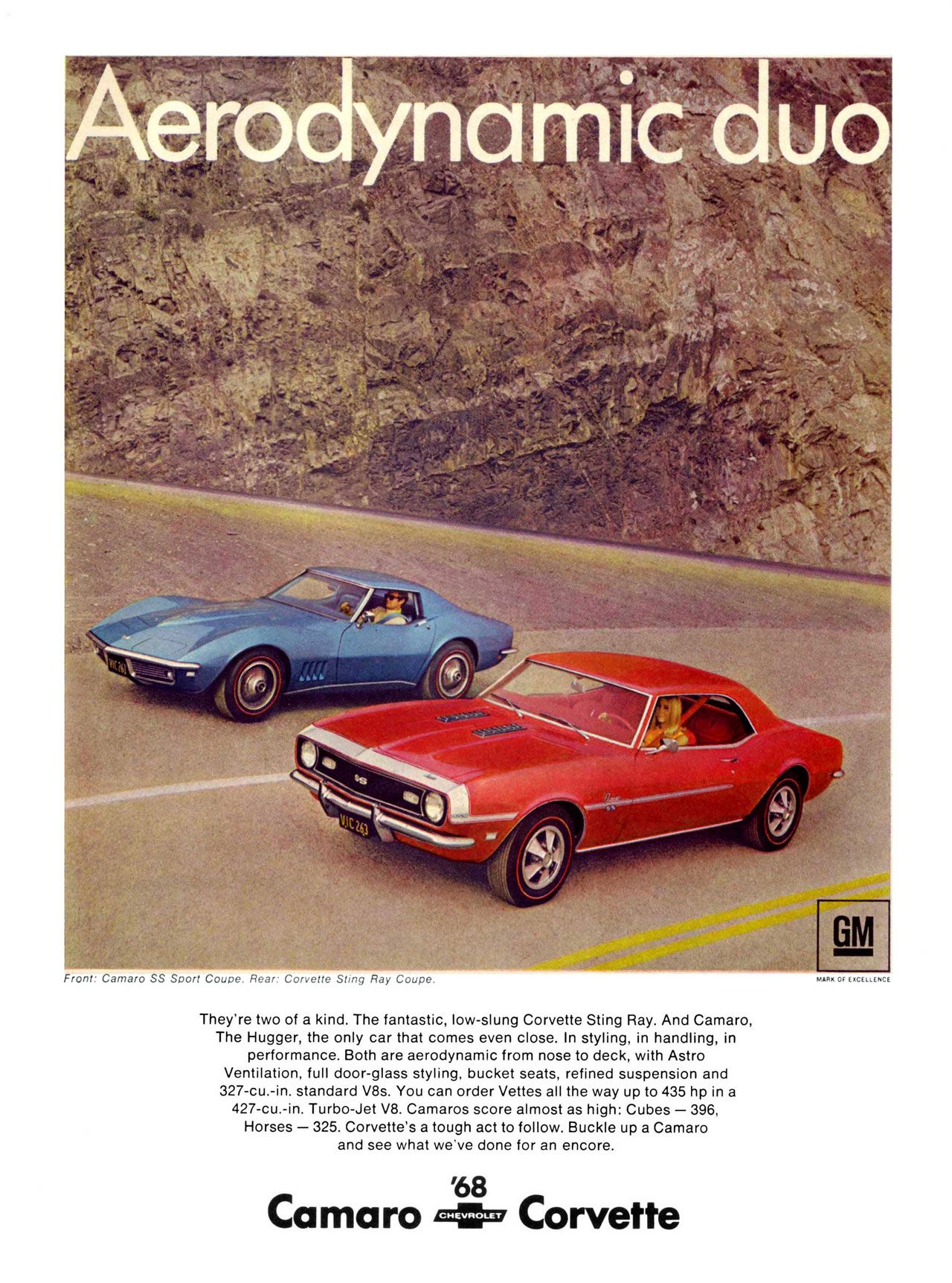 The 1968 Chevrolet Camaro and Corvette models. Aerodynamic duo.