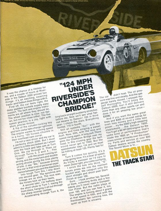 124 MPH Under Riverside's Champion Bridge! Datsun. The Track Star!