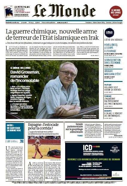 Le Monde du Vendredi 21 Août 2015