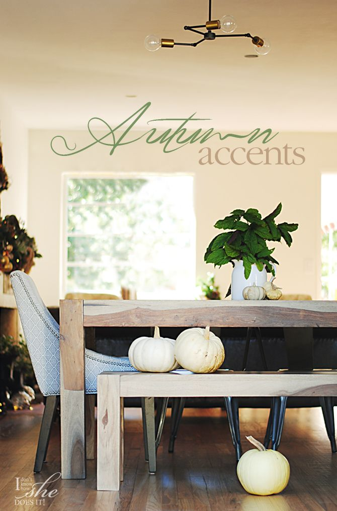Transitional fall accents for the home. Pumpkins, green and wood