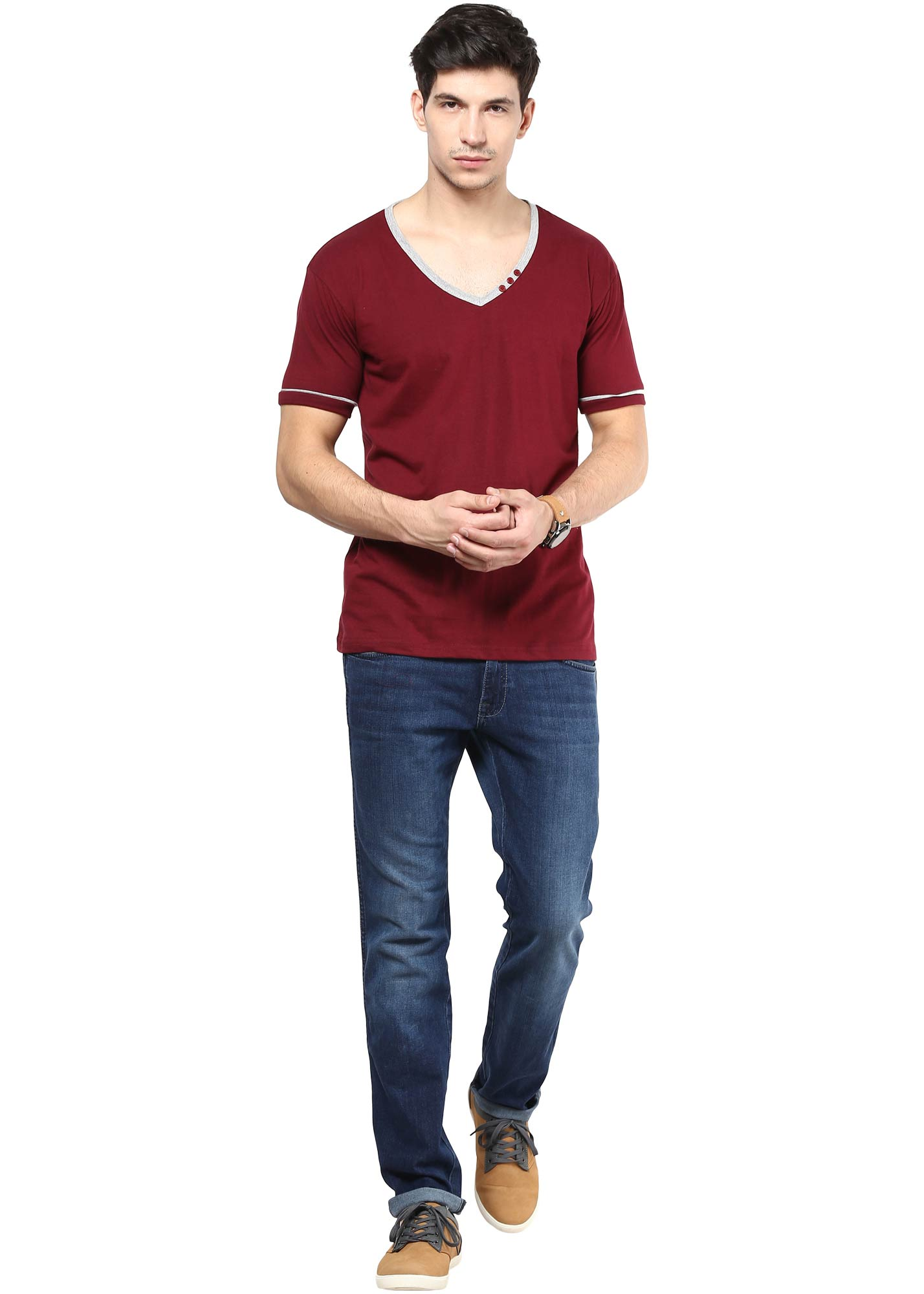 Izinc maroon coloured half sleeve cotton t shirt for men for Maroon t shirt for men