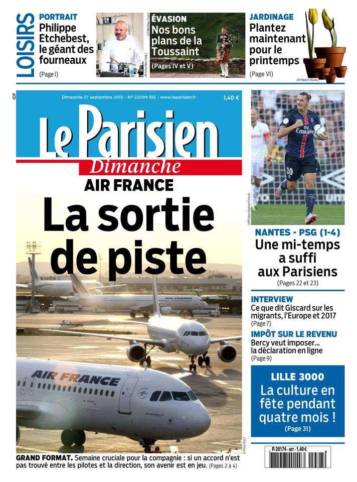 Le Parisien + Le Guide de votre Dimanche 27 Septembre 2015