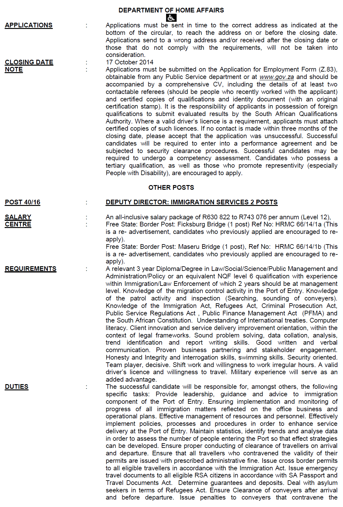Dpsa Vacancies Circular 40 2014 2015 Autos Post