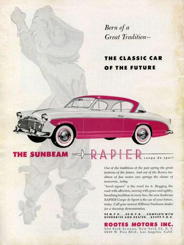 Born Of a Great Tradition. The Classic Car Of The Future. The Sunbeam Rapier Coupé de Sport.