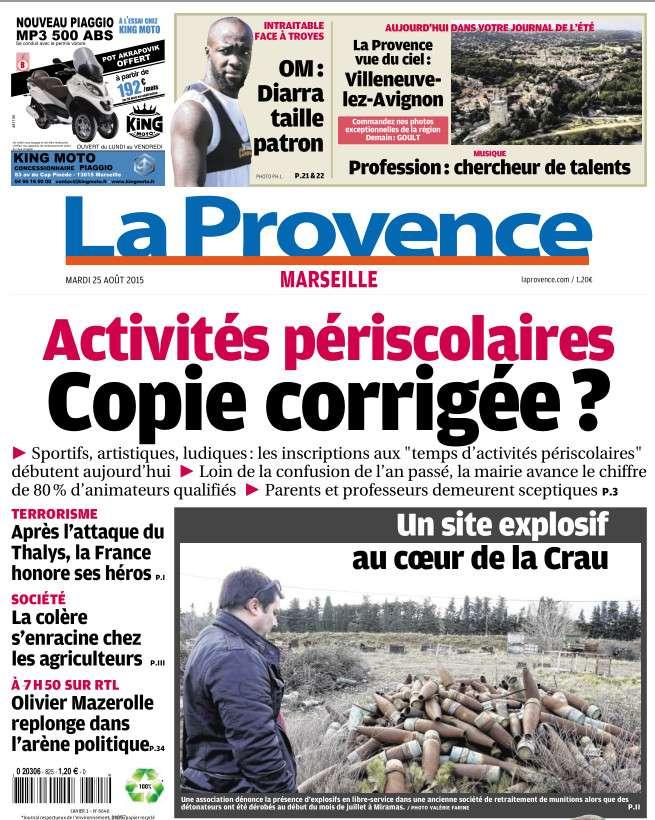 La Provence Marseille du Mardi 25 aout 2015