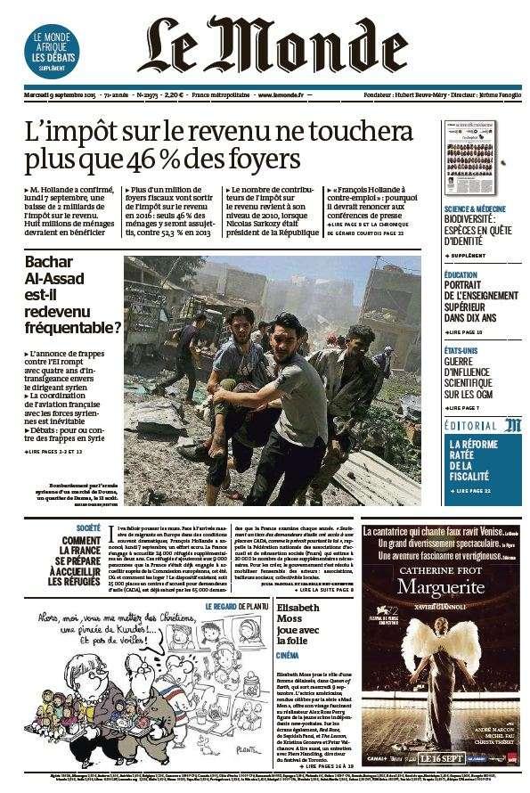 Le Monde du Mercredi 9 Septembre 2015