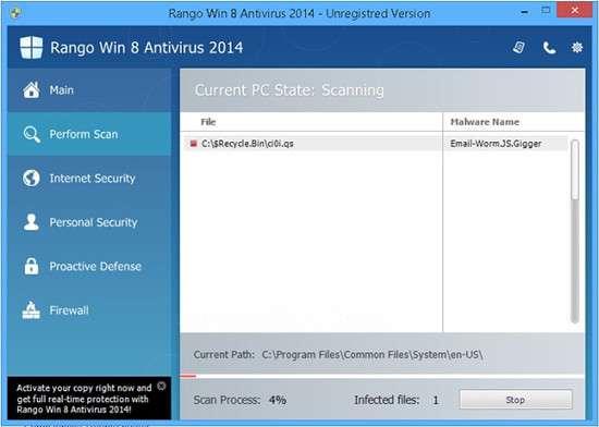 Rimuovere Win 8 Antivirus 2014