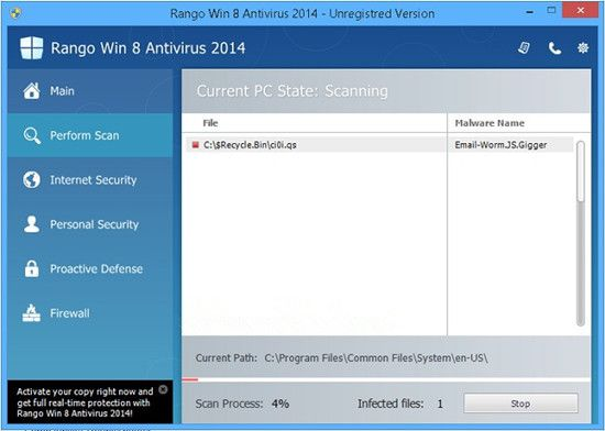 Fjern Win 8 Antivirus 2014