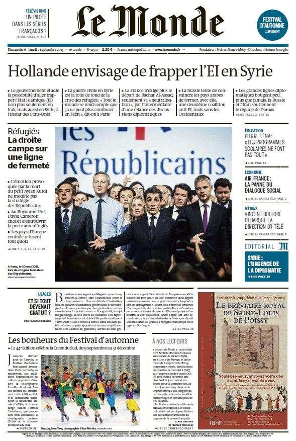 Le Monde du Dimanche 6 et Lundi 7 Septembre 2015