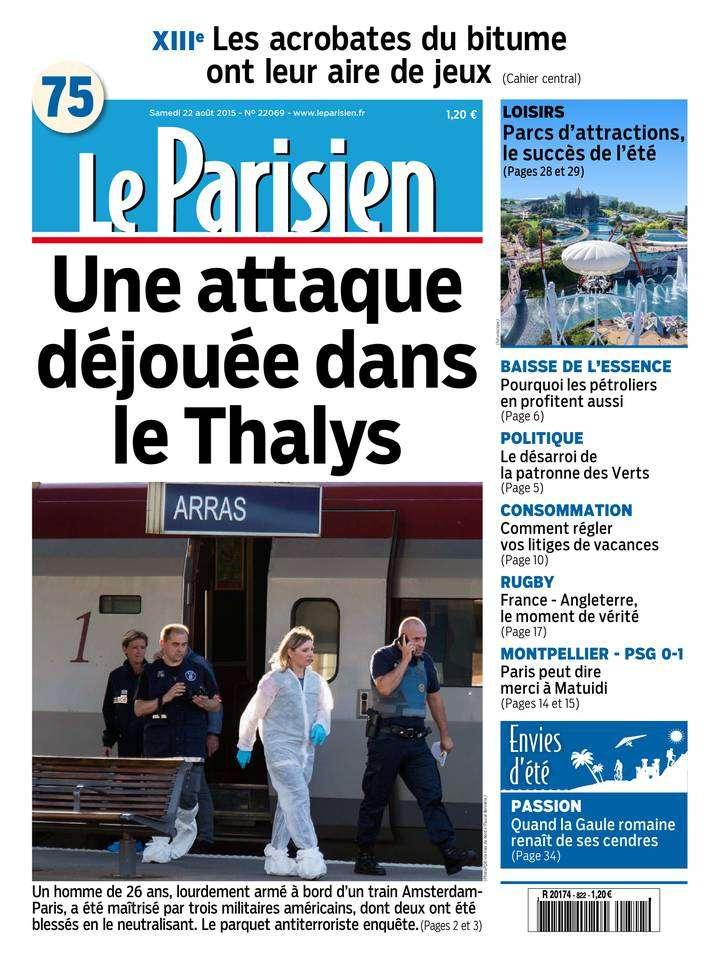Le Parisien + Journal de Paris du Samedi 22 Août 2015