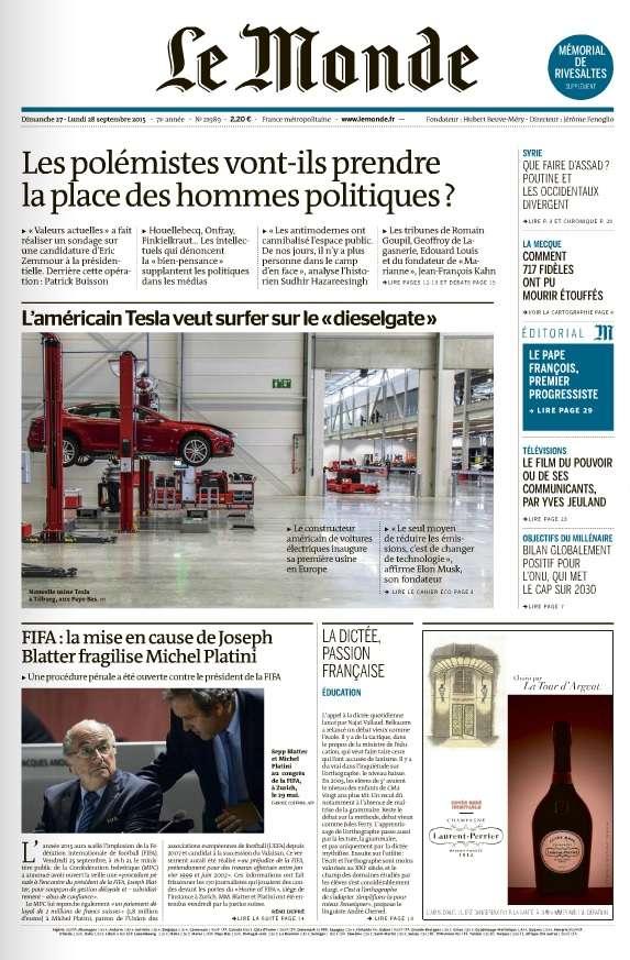Le Monde et 2 Suppléments du Dimanche 27 et Lundi 28 Septembre 2015