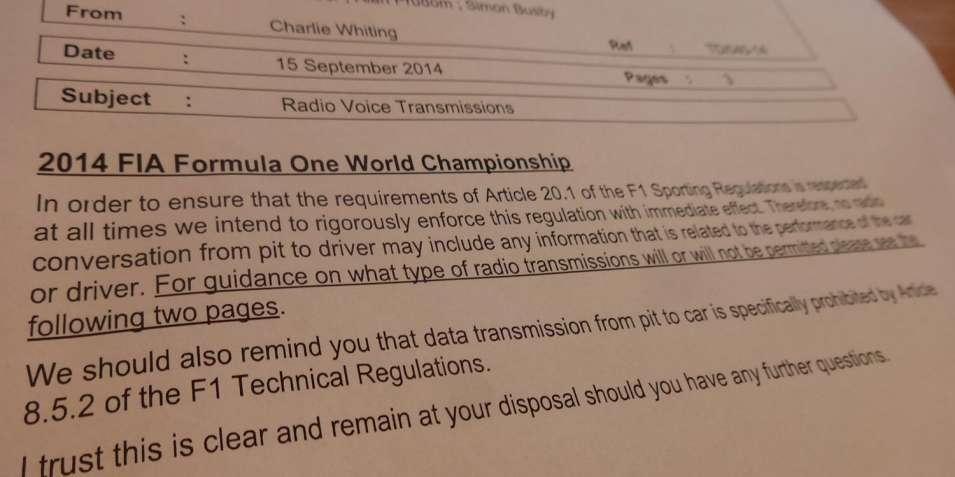 2014 FIA Formula One Sporting Regulations Article 20.1