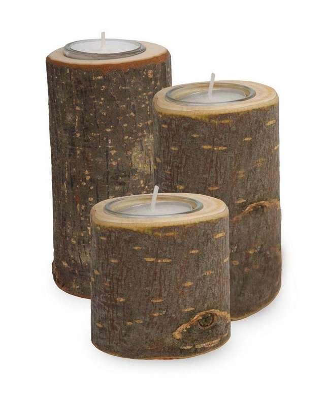 Tronquitos portavelas, portavelas madera