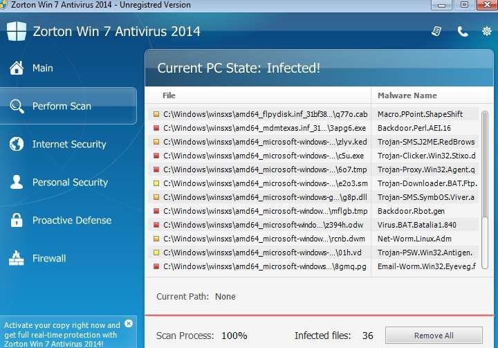 Usuń Zorton Win 7 Antivirus 2014