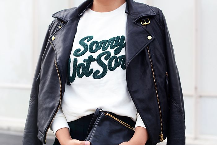 asos sorry not sorry sweatshirt, leather jacket, tartan skirt, stan smith adidas sneakers - justlikesushi.com