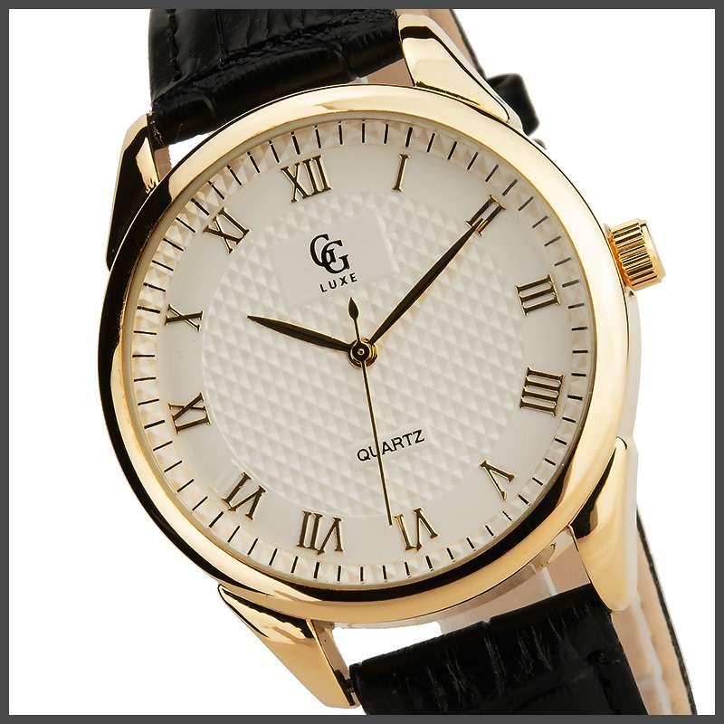 Gg luxe montre homme neuve boitier acier bracelet cuir water resistant ebay for Bracelet cuir homme luxe